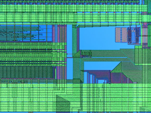 Stylized image of IC layout | Calibre YieldEnhancer SmartFill functionality combines advanced design density analysis with multiple filling solutions for the optimum filling strategy for correct-by-construction results in both digital and custom/analog designs.
