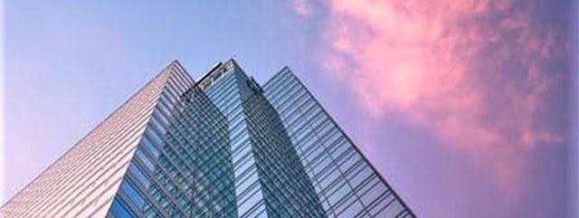 Sunset skyscraper building