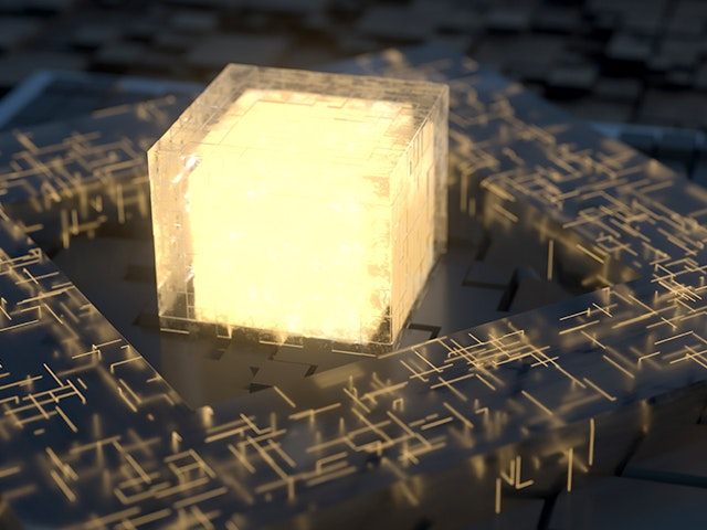 Glowing gold cube surrounded by circuitry | Calibre xACT 3D field-solver technology delivers multi-threaded and distributed processing for fast, scalable parasitic extraction.