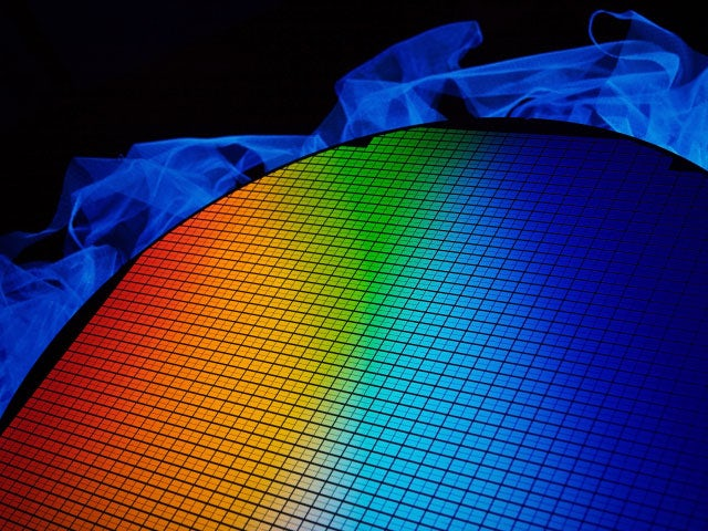 Rainbow colors on a silicon wafer