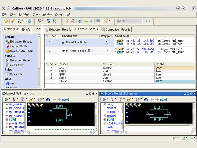 Calibre RVE interface screenshot of error analysis | The Calibre RVE results viewer provides results debugging across the entire Calibre product line, giving you a single interface to learn and support for all your Calibre tools.