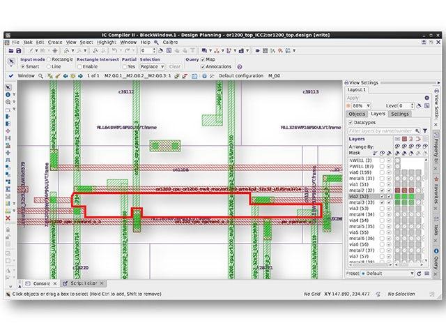 Calibre RealTime Digital screenshot of error highlight | Provides immediate DRC feedback using standard foundry-qualified Calibre rule decks in P&R, accelerating DRC closure for digital designs.