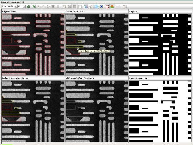 Screenshot of software tool showing various IC layout views
