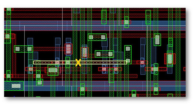 A signal short caused by an ECO adjustment can be manually fixed and then quickly verified in the P&R environment using Calibre RealTime Digital in-design DRC.