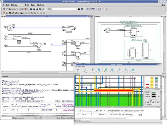 Screen shots showing functions of Tessent Diagnosis software.