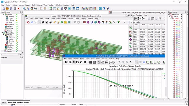 Hyperlynx Advanced Solvers provide a common environment for front-end design editing, simulation setup/control and graphical results processing. Users can run the same project in different solvers and compare results.