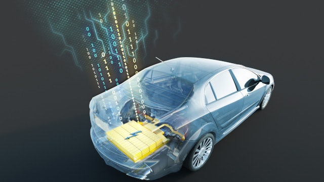 Graphic of a electric vehicle battery with data capture on health and performance