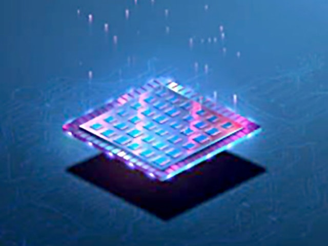 Stylized IC floating with signals flying up | Reduce DRC iterations and debug time by using Calibre nmDRC Recon early verification to correct systemic issues caused by floorplan or placement errors.