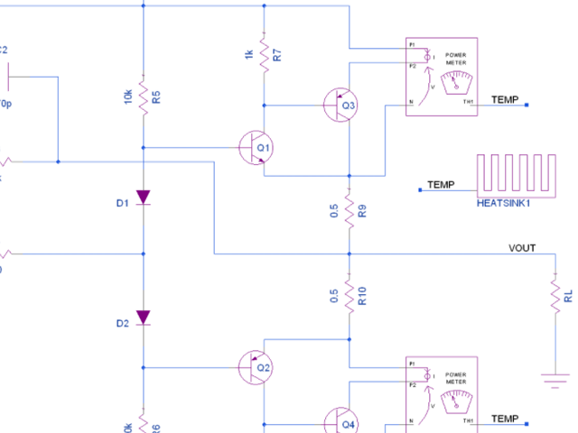 Snapshot of a simulated circuit schematic in Xpedition AMS