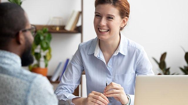 Siemens corporate functions meeting between man and woman