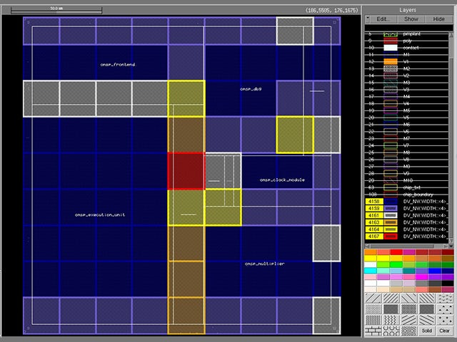 Screenshot of Calibre nmDRC Recon color mapping | The Calibre nmDRC Analyze feature generates a color map of DRC results, enabling designers to review regions with high result counts and more quickly identify a root cause.