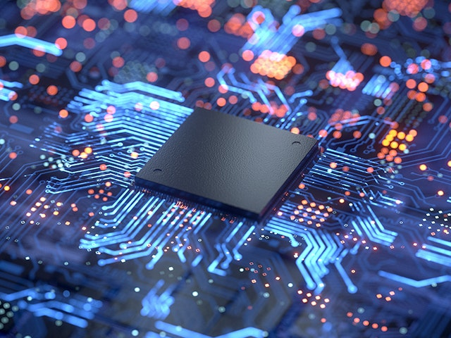 IC chip connected to lit-up circuitry on board | Calibre Auto-Waivers provides fast, accurate, automated recognition, removal, and tracking of waived design rule violations during design rule checking.