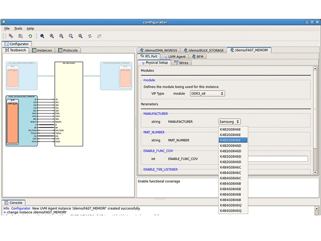 Questa Verification Memory Configurator screenshot