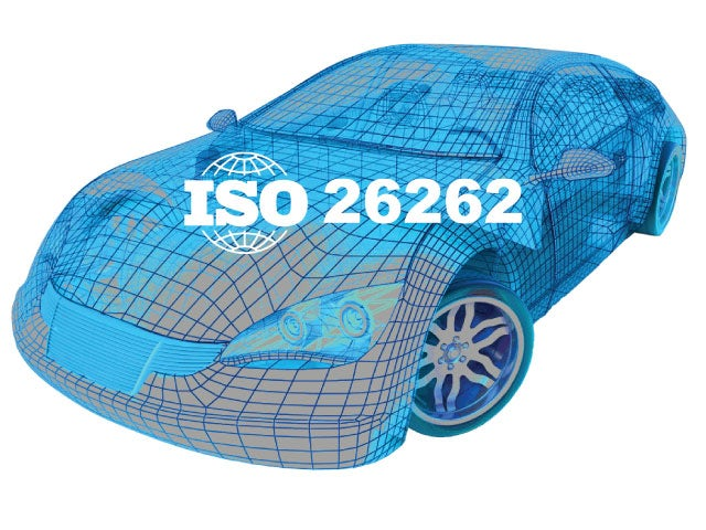 Wireframe image of a car with the ISO 26262 logo on it