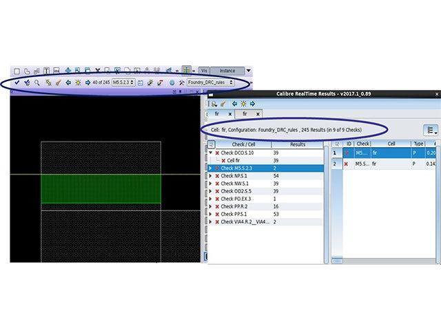 Calibre RealTime Custom screenshot of error display | The Calibre RealTime Custom interface enables a built-in error review toolbar in the design environment.