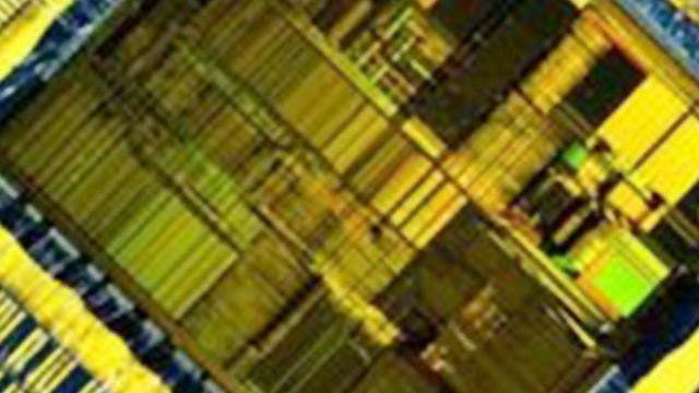 Calibre nmDRC / macro photograph of an IC