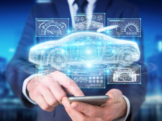 man holding phone projecting virtual car schematic and dashboard display | The Calibre RealTime Digital interface provides on-demand Calibre sign-off DRC for digital design flows, enabling engineers to meet PPA goals in less time.