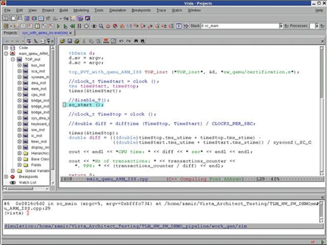 Screenshot of Vista flow simulation console